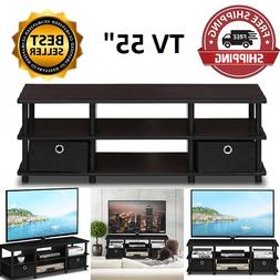 TV Up to  55 Inch Large Entertainment Stand, Black wood FREE