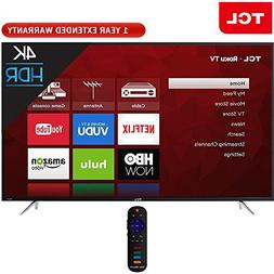 TCL 65 Inch 4K 120Hz Ultra HD Dual Band Roku Smart LED TV Bl