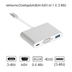 USB C to VGA Adapter - 3-in-1 Multiport Type-C to VGA Hub Co