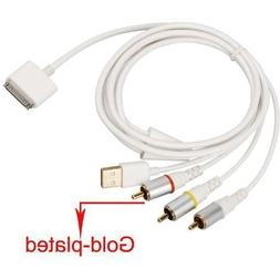 USB charger Composite AV to TV RCA Video Cable for iPhone 3G
