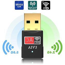UVIA USB Wifi Adapter 600Mbps 2.4G/5G Dual Band Wireless Wif