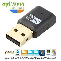 USB Wifi Adapter, ZIKO 600Mbps 2.4G/5G Dual Band USB Adapter