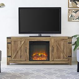 New 58 Inch Wide Barn Door Fireplace Television Stand in Bar