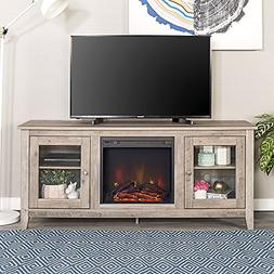 New 58 Inch Wide Television Stand with Fireplace in Grey Was